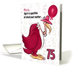 Custom 75th Birthday Humorous Pink Buzzard card
