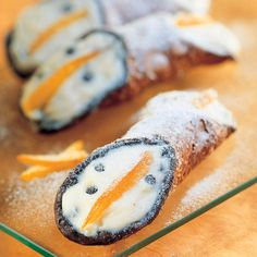 Cannoli is the ultimate Sicilian dessert. Bindi Cannoli features a chocolate rimmed pastry shell, filled with sweetened ricotta cream studded with candies fruit and chocolate chips. Cannoli, Chocolate Cherry, Chocolate Chips, Pastry Shells, Gourmet Desserts, Specialty Foods, Bindi, Ricotta, Camembert Cheese