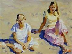 Peggi Kroll-Roberts, Mary and Ali, oil, x Summer Painting, Love Painting, Figure Painting, Figure Drawing, Peggi Kroll Roberts, Classical Realism, Beach Art, Beach Canvas, Southwest Art