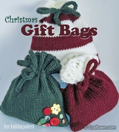 Free Knitting Pattern - Christmas Gift Bags (a darling new pattern at Craftown) - Crafting In Line Crochet Christmas Gifts, Christmas Gift Bags, Crochet Gifts, Knit Gifts, Christmas Knitting Patterns, Knitting Patterns Free, Free Knitting, Knitting Wool, Small Knitting Projects