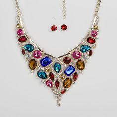 Rhinestone Bib Necklace, Mega Statement Necklace,Multi Colour Crystal Necklace,Jewellery Set,Rhinestone Dramatic Necklace,Burlesque Necklace