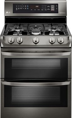 LG - 6.9 Cu. Ft. Self-Cleaning Freestanding Double Oven Gas Range with ProBake Convection - Black Stainless Steel - Larger Front