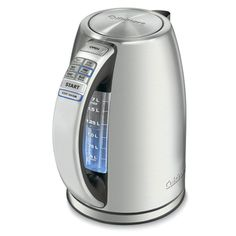 Cuisinart Perfectemp stainless steel cordless electric kettle - fast boiling and can heat to desired temperature. Gotta love this.