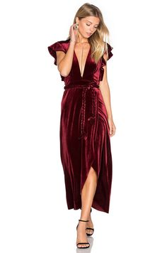 ca436d681a MISA LA Carolina Sleeveless V Neck Wrap Velvet Maxi Dress Dark Red Wine M   237