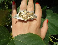 Double finger ring from natural fresh Mint and Viburnum flower by ANEMONENATURALLE on Etsy