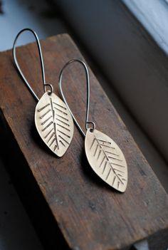 feather brass earrings