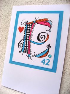 Birthday card to Eva turning 42 years old - made by Anna Jaawre 2014