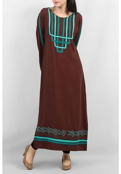 brown emb pakistani designer stitched shalwar kameez kurta palazzos