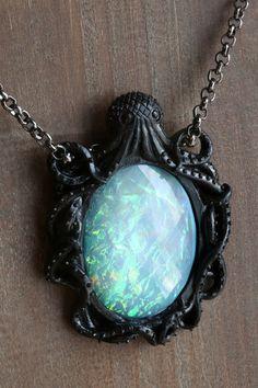 Aqua Opal Faceted Cameo Necklace Black Octopus by CameoAndJuliet