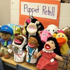 "---> ""Puppets and Props"" activity, where students build complex oral language structures by retelling familiar stories. Early Literacy, Literacy Centers, Literacy Skills, Kindergarten Literacy, Language Activities, Classroom Activities, Fun Activities, Communication Orale, Language Development"