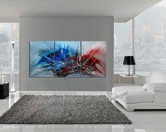 Abstrait peinture 72 effet bleu rouge froid et par largeartwork