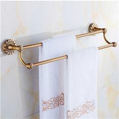 Vintage accessoires de salle de serviette double Support de couche européen antiques Barre en laiton porte-serviettes