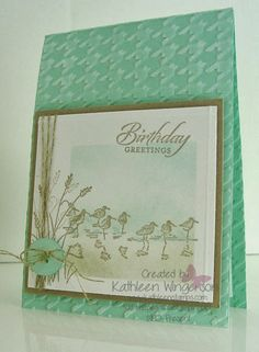 www.kathleenstamps.com -- Here is a cute masculine birthday card made with the Stampin' Up! Wetlands stamp set.  Thank you for taking time to PIN my cards!!    You can find additional information about this card and others here:  http://www.kathleenstamps.com/2014/03/wetlands-masculine-birthday-card.html#.UyyPaoWa9jY