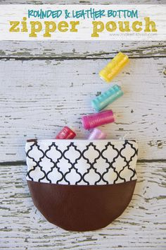Great little Zipper Pouches with a Rounded Leather Bottom. Stuff with pens, washi tape, treats, etc.......makes a great GIFT! www.makeit-loveit.com