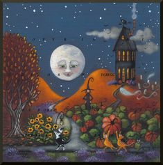 The Pumpkin Heist a small Pump. The Pumpkin Heist a small Pumpkin Witch cats Print by ChicorySkies Fairy Halloween Costumes, Halloween Pictures, Halloween Night, Happy Halloween, Halloween Witches, Halloween Painting, Vintage Halloween, Halloween Crafts, Witch Painting