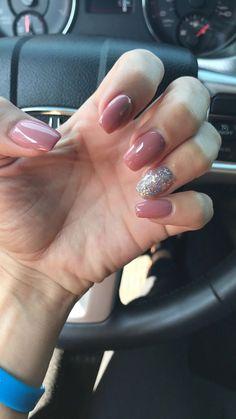 Tip acrylic nails, pink glitter nails, acrylic nail shapes, blue coffin nai Glitter French Nails, Pink Glitter Nails, Pink Acrylic Nails, French Tip Nails, Acrylic Nail Shapes, Acrylic Nail Designs, Acrylic Nails Natural, Mauve Nails, Short Gel Nails