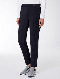 Max Mara ROUEN blu: Pantaloni in cotone stretch.