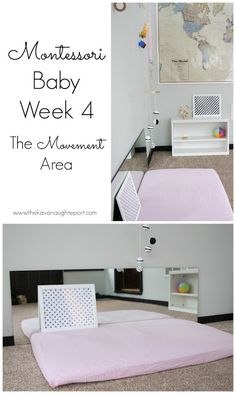 Montessori Baby Week 4 - The Movement Area - Kinder Dekoration Montessori Baby Toys, Montessori Bedroom, Montessori Activities, Infant Activities, Montessori Education, Learning Activities, Infant Toddler Classroom, Baby Play Areas, Baby Lernen