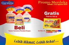 Setiap pembelian Roti Garmelia varian Tawar Gandum/Pandan/Kupas GRATIS Palmia 100gr. Berlaku di tempat-tempat tertentu.