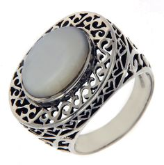 Solid Sterling Silver Oval MOP Ring»R124