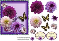 - Dahlia greetings decopupage card front is a great card to give to someone with a birthday, or to get well, has 2 lab. Mushroom Art, Dahlia, Decoupage, Birthday Cards, Lab, Card Making, Purple, Floral, How To Make