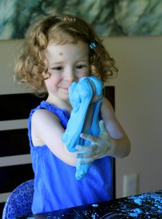 Borax-Free Slime Dough recipe using cornstarch and shampoo!  Great messy sensory fun from Fun at Home with Kids