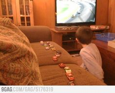 Tracking positions during NASCAR...   -My little brother use to do this every race lol