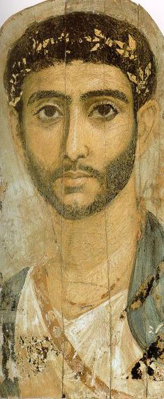 portrait found in the Fayum Basin of Egypt, dating from 1 BC to 3 AD.