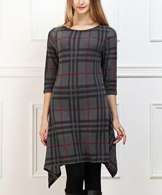 This Charcoal & Red Plaid Sidetail Shift Dress is perfect! #zulilyfinds