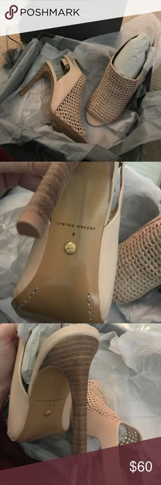 Cynthia Vincent Nude peep-toe Brand New and on trend from Neiman Marcus. Sadly they are too big and I lost the receipt so I can't return. Hoping to pass my great deal on to someone. Price is firm Cynthia Vincent Shoes Ankle Boots & Booties
