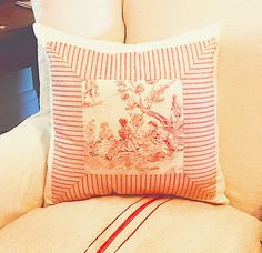 Sofa Pillow Cover / Toile de Jouy Pieced Cushion by SmallbonesJane