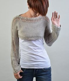 Hand knit sweater, Little shrug, cover up top in light grey
