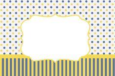 Poá e Listras Azul e Amarelo – Kit Completo com molduras para convites, rótulos para guloseimas, lembrancinhas e imagens! |Fazendo a Nossa Festa
