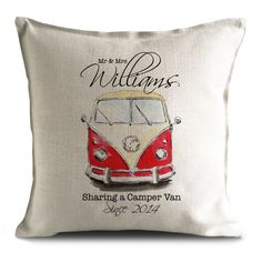 Vintage VW camper van personalised wedding gift cushion cover for mr and mrs bride and groom on their special day.
