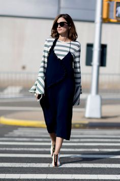 Slip dress + Striped long sleeved top