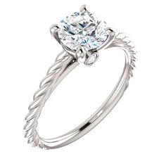 14kt White .04 CTW Diamond Semi-mount Engagement Ring for 6.5mm Round Center