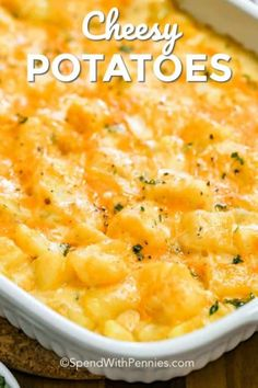 This easy cheesy potato casserole is great to prep and make ahead. Then just toss in the oven to bake until browned! You can also easily freeze this recipe for a quick meal or perfectly portioned leftovers! #spendwithpennies #cheesypotatoes #sidedish #ovenbaked #casserole #makeahead #freezerfriendly Cheesy Potato Casserole, Potatoe Casserole Recipes, Oven Cheesy Potatoes, Recipe For Cheesy Potatoes, Chessy Potatoes, Recipe With Canned Potatoes, Potato Caserole, Can You Freeze Potatoes, Crockpot Hashbrown Casserole