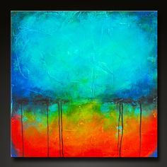 Oxidized Metal    12 x 12    Flat canvas, highly textured, sealed, perfect for framing and matting.    Signed and dated on the back.    This 12x 12 abstract painting has been done on a flat canvas, highly textured, then painted in my Oxidized Metal style in gorgeous deep rich shades of turquoise, aqua, cobalt blue, crimson red, orange, yellow, and black. Finished in gloss varnish to protect the painting from dust and UV light for years to come. I tried to display the piece as it may look…