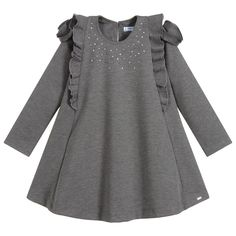 A grey marl dress for girls by Mayoral, made in beautifully soft and stretchy Milano jersey. It has feminine ruffles on the front, shoulders and back, with red and silver diamanté scattered on the front of the bodice. Baby Girl Dress Design, Baby Girl Dress Patterns, Dress Sewing Patterns, Baby Girl Dresses, Baby Dress, Designer Dresses For Kids, Gowns For Girls, Kids Outfits, Bodice