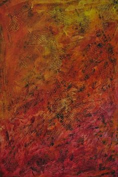 """Textured Painting On Wood - Red Yellow Orange Abstract Artwork by Patty Evans Acrylic ~ 36"""" x 24"""""""