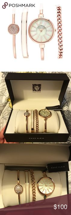 Anne Klein Rose Gold/Ivory Watch Set Anne Klein rose gold/ivory watch and bangle set. Round bangle watch with coordinating bracelets. 32mm case, 3mm band width, 178mm band length. Rose gold plate/Swarovski crystal/enamel. New with tags! Perfect for summer! Anne Klein Accessories Watches