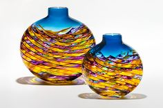 Optic+Rib+Helix+Small+Flat+in+Violet+Multi+&+Yellow+with+Aquamarine by Michael+Trimpol+and+Monique+LaJeunesse: Art+Glass+Vase available at www.artfulhome.com