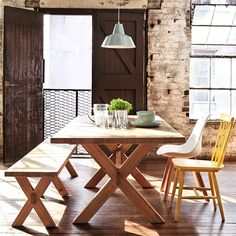 Mix and match our new Constable Dining Table and Bench seat with bright classic dining chairs