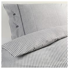 IKEA - NYPONROS, Duvet cover and pillowcase(s), Full/Queen (Double/Queen), , Yarn-dyed; the yarn is dyed before weaving; gives the bedlinens a soft feel.Decorative, fabric-covered buttons keep the comforter and pillow in place.