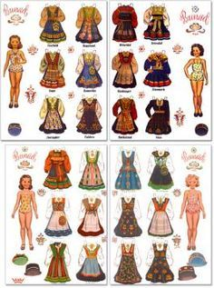 Norwegian Bunad Paper Dolls - Norwegian folk costums from the regions of Rogaland and Hardanger in Norway. Holly Hobbie, Norway Viking, Paper Art, Paper Crafts, Paper Doll House, Hardanger Embroidery, Floral Embroidery, Embroidery Designs, Vintage Paper Dolls