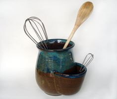 i want to make this for myself! Pottery utensil holder with pocket, Brown and blue stoneware crock, Ceramic spoon organizer