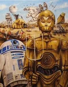 American Gothic, Grant Wood, R2Ds C-3PO, Star Wars, Tatooine, Parody, Death Star, At-At