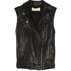 MICHAEL Michael Kors Washed-leather biker vest (1.400 RON) found on Polyvore