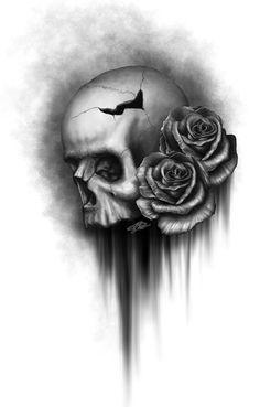 filigree design tattoos | Pencil Drawing Skull Roses And Baroque Filigree Tattoo Design Pictures