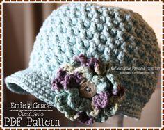 Newsboy Hat Crochet Pattern 8 Sizes from door EmieGraceCreations